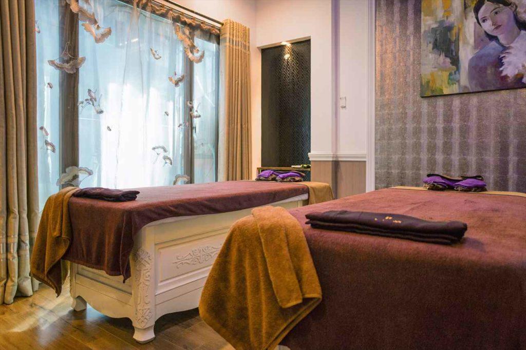 オマモリスパのベッドルーム