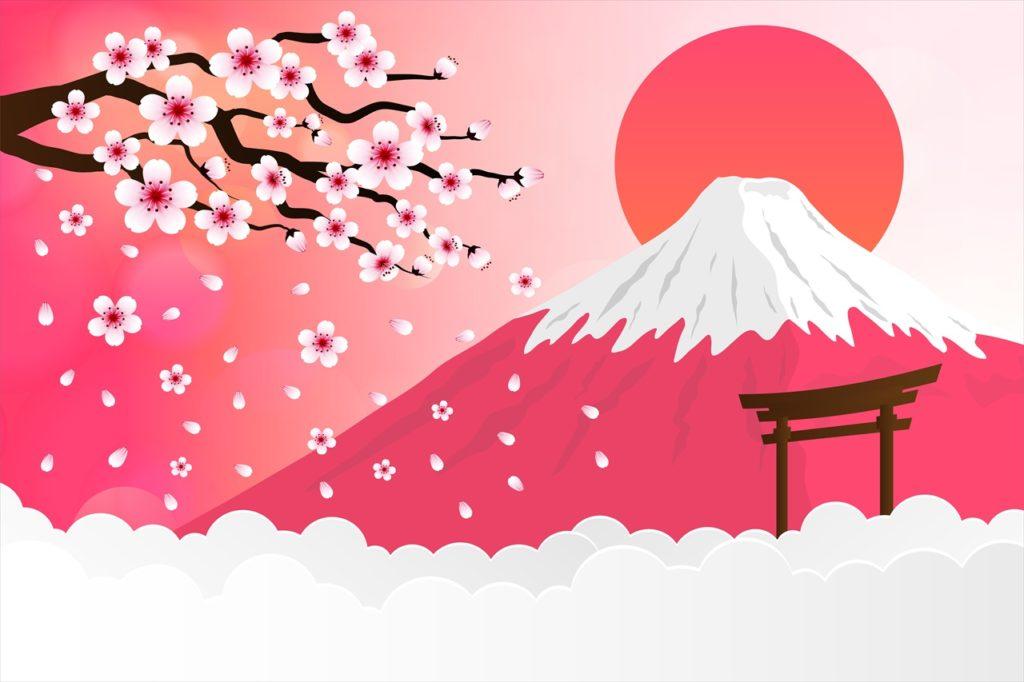 日本の富士山のイラスト