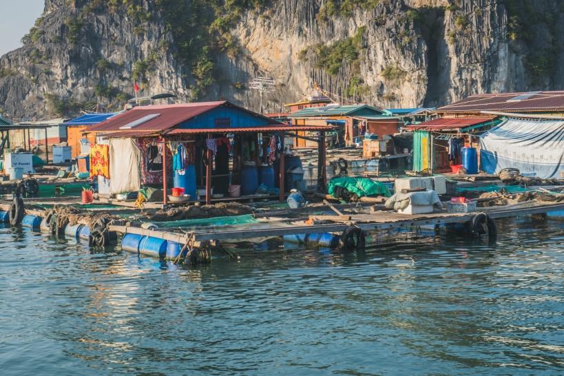 ハロン湾に暮らす人々。水上漁村の見学