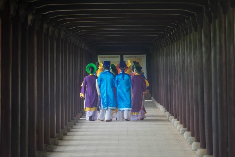 フエの元朝王宮内部では定時イベントが開催される