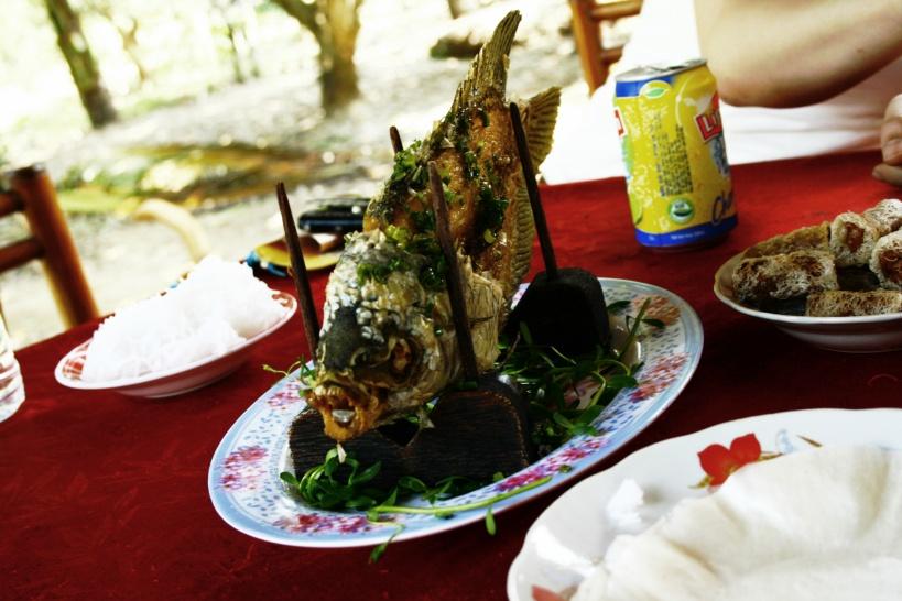 17:00 夕食(象耳魚をはじめとしたメコン料理を堪能)